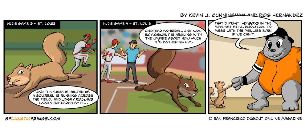 Seriously, that second squirrel, running across home plate, looks like he took the same dare that the Randy Johnson dove took.  Luckily, this squirrel hopefully won the bet.
