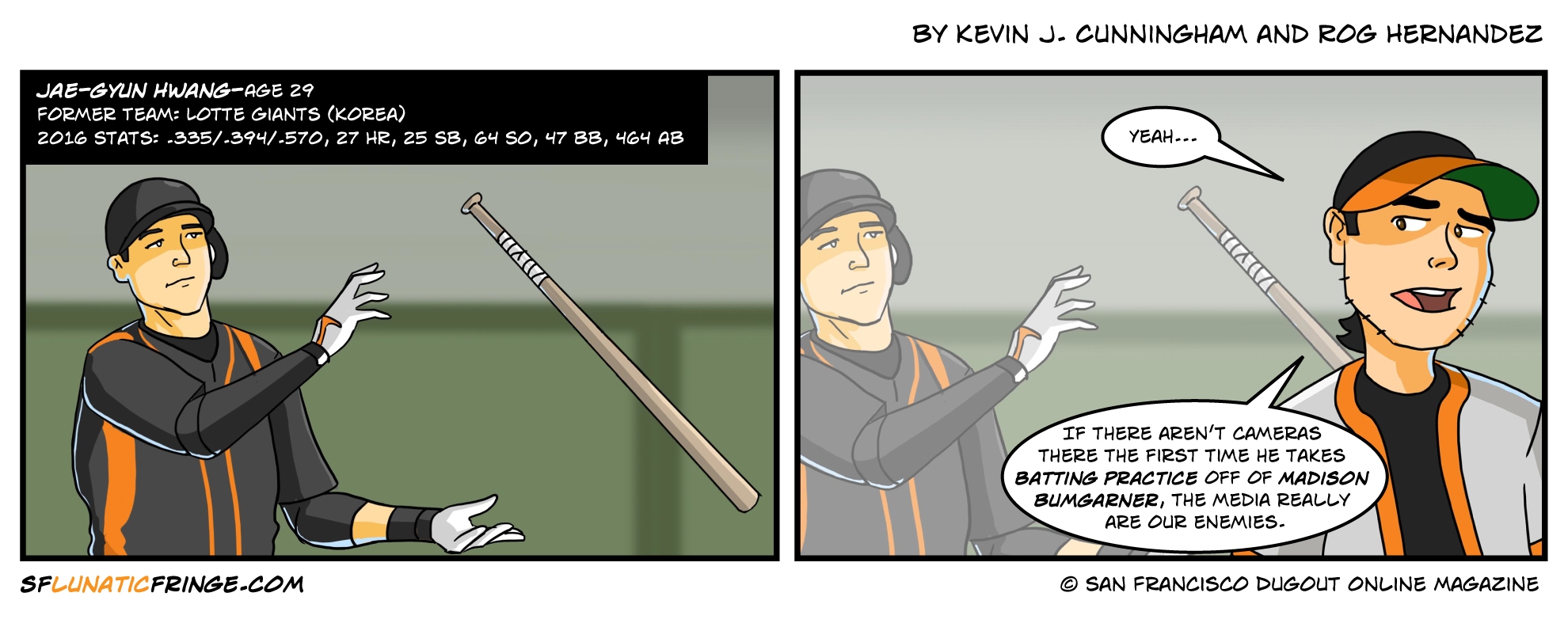 """Hwang"" would get a great sound effect for a home run swing in a comic, too."
